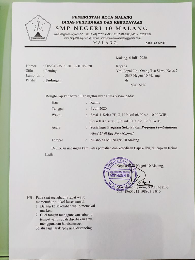 Undangan Sosialisasi Program Sekolah Smpn 10 Malang